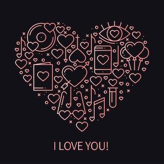Coração com símbolos do amor