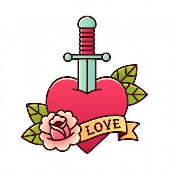 Coração com tatuagem punhal
