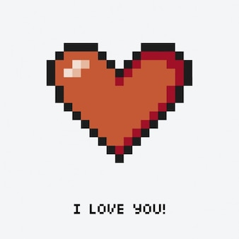 Coração com uma mensagem pixelizada