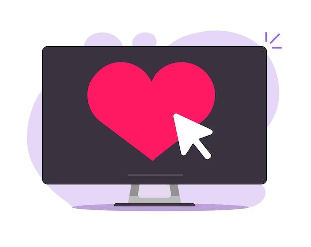 Coração como um botão online na tela do computador