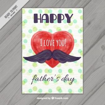 Coração da aguarela com o cartão do dia um bigode do pai