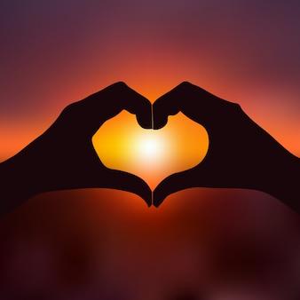 Coração da mão no sol para o dia dos namorados. vetor