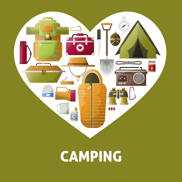 Coração de acampamento de verão