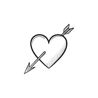 Coração de amor com ícone de esboço desenhado à mão de seta cupido