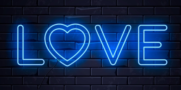 Coração de amor néon iluminado