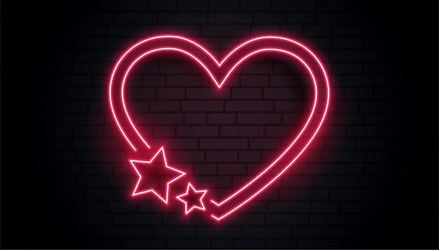 Coração de amor vermelho e design de moldura de néon estrela