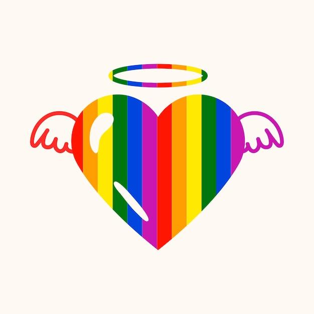 Coração de anjo colorido, vetor de ícone do mês do orgulho lgbt