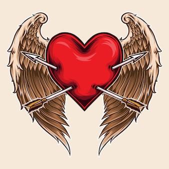 Coração de anjo com flecha