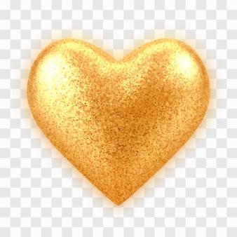 Coração de balão de ouro 3d realista abstrato com textura glitter isolada