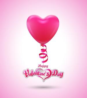 Coração de balão para o cartaz do evento de amor e dia dos namorados do cartão