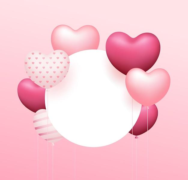 Coração de balão rosa, moldura circular