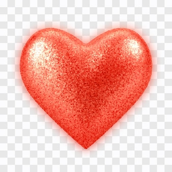 Coração de balão vermelho realista 3d abstrato com textura de glitter isolada em transparente.