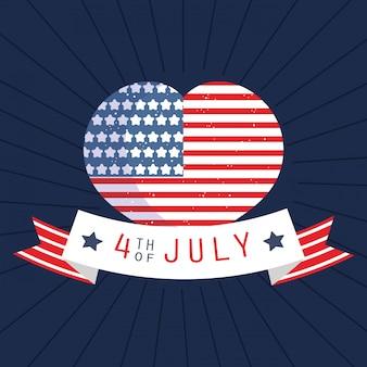 Coração de bandeira dos eua com design de fita de 4 de julho