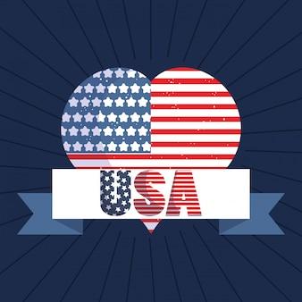 Coração de bandeira dos eua com design de fita