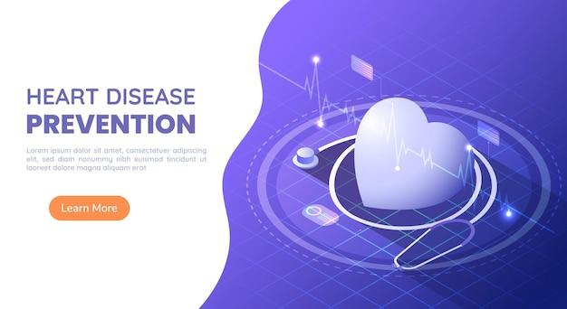 Coração de banner de web isométrica 3d com estetoscópio e batimento cardíaco de ecg em fundo gradiente azul e roxo. prevenção de doenças cardíacas ou conceito de cardiologia e saúde.