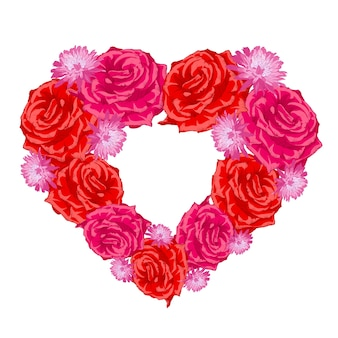 Coração de botão de rosa sobre branco.