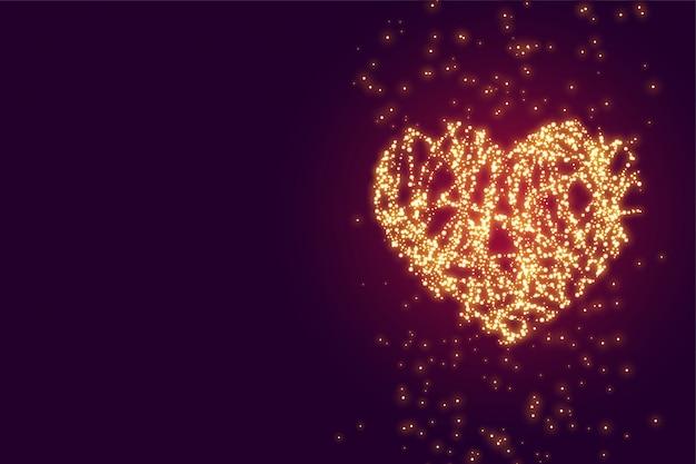 Coração de brilho brilhante com fundo de espaço de texto