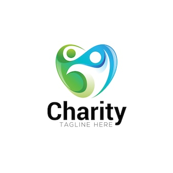 Coração de caridade social e logotipo humano abstrato