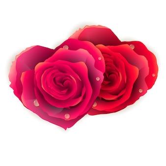 Coração de casal feito de rosas vermelhas.