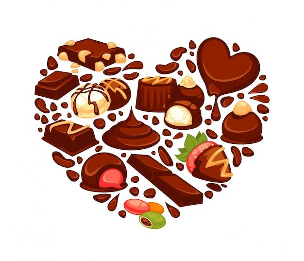 Coração de chocolate de sobremesas de confeitaria e balas de trufa