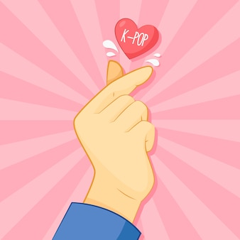 Coração de dedo desenhado à mão