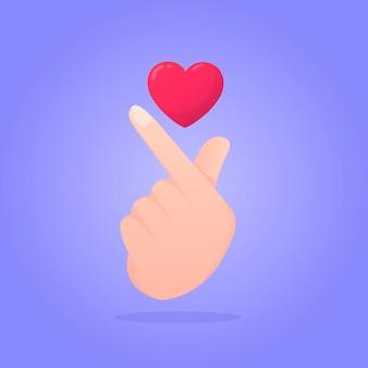 Coração de dedo gradiente com sombras