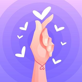 Coração de dedo gradiente
