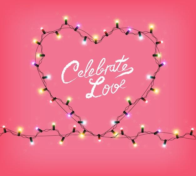 Coração de dia dos namorados com luzes brilhantes