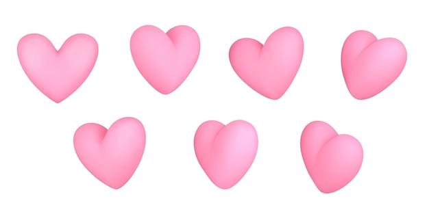 Coração de diferentes ângulos. corações rosa.