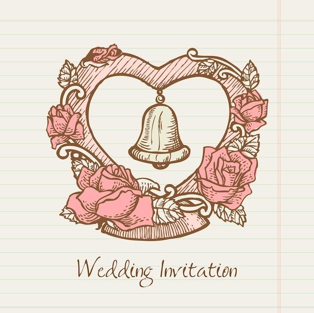 Coração de doodle de casamento desenhado à mão