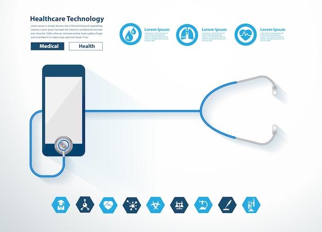 Coração de estetoscópio com tecnologia de saúde de design criativo de smartphone