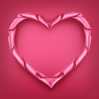 Coração de fita rosa em forma de modelo de quadro.