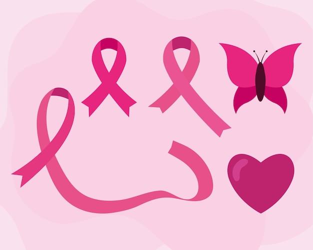 Coração de fitas cor de rosa de conscientização do câncer de mama e desenho de borboleta, tema da campanha.
