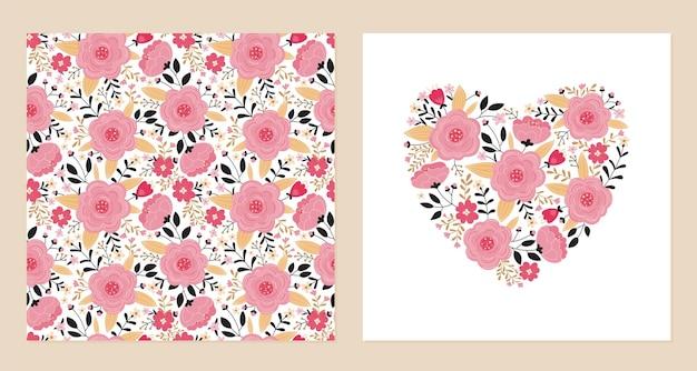 Coração de flores cor de rosa e folhas e padrão sem emenda.