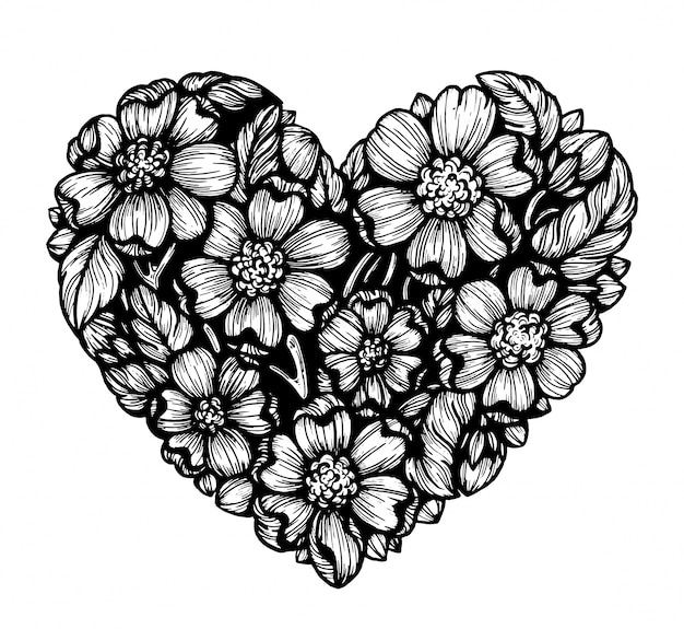 Coração de flores. gráficos.