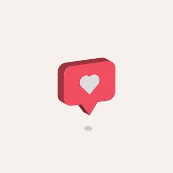 Coração de ícone para mídia social Vetor Premium