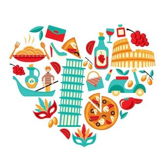 Coração de ícones de itália