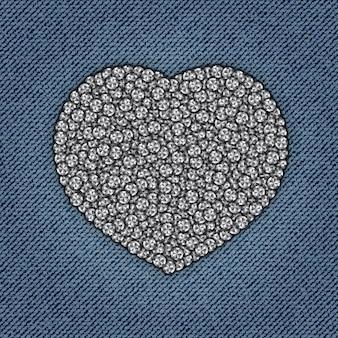 Coração de jeans com lantejoulas