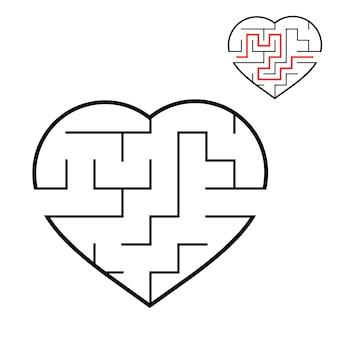 Coração de labirinto preto.