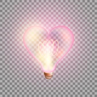 Coração de lâmpada brilhante em fundo transparente.