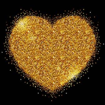 Coração de lantejoulas de ouro sobre um fundo preto