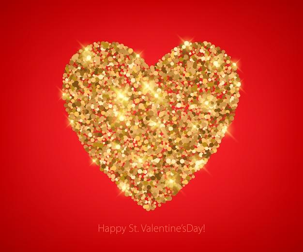 Coração de lantejoulas glitter dourado em vermelho.