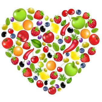 Coração de legumes e frutas, no fundo branco, ilustração