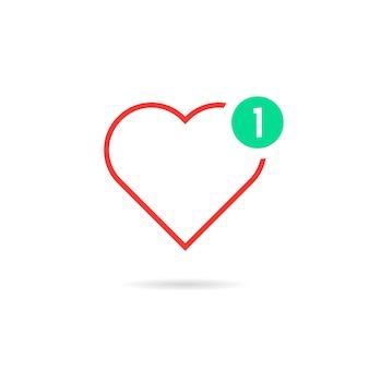 Coração de linha fina como notificação. conceito de mensagem de feliz dia dos namorados, interface do usuário, caridade, classificação positiva. isolado no fundo branco. ilustração em vetor design moderno logotipo tendência estilo simples