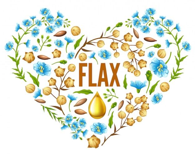 Coração de linho flor para design
