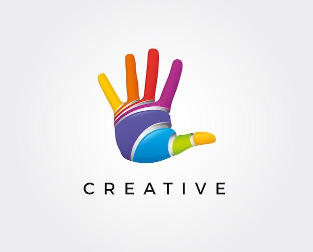 Coração de logotipo abstrato em uma mão ícone de linha estilizada