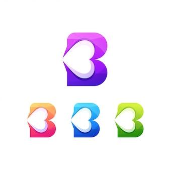 Coração de logotipo de carta de amor b
