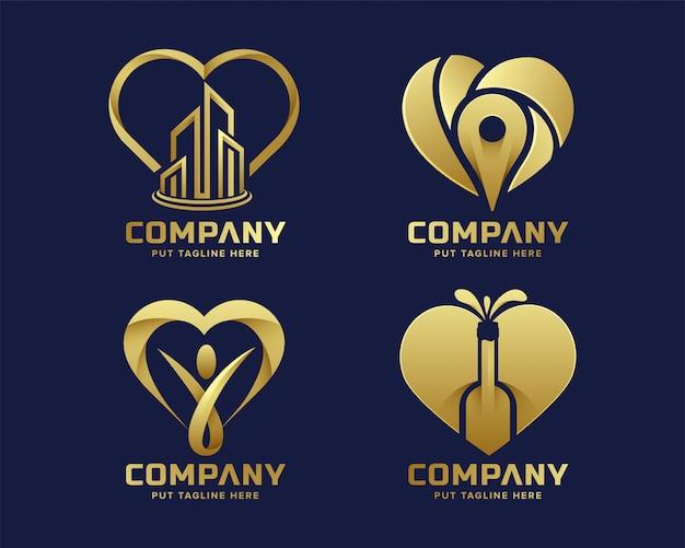 Coração de luxo premium amo coleção de logotipo dourado
