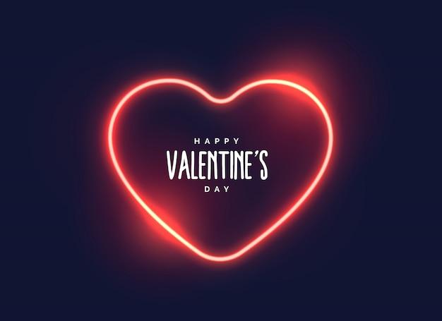 Coração de luz de néon elegante para o dia dos namorados