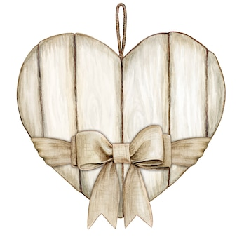 Coração de madeira branco rústico chique em aquarela com laço